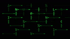 Green Alphabet array Stock Footage