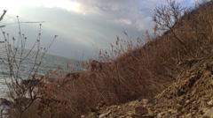 Crimea Russia Sevastopol Fiolent - Black sea, rocks , grass, static camera 3 Stock Footage