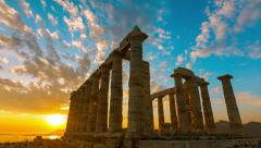 4K 30p Golden sea sunset Ancient Temple of Poseidon Sounio Greece NEW Stock Footage