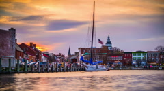 Annapolis Maryland Harbor Time Lapse Stock Footage