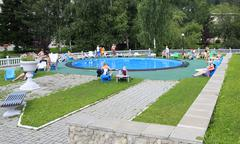 Outdoor pool in the Sanatorium Centrosouz - stock photo