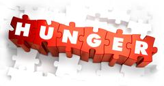 Hunger - Text on Red Puzzles Stock Illustration