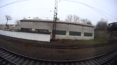 Fisheye view from a window of a train to the railway Stock Footage