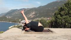 Woman makes yoga stretching Stock Footage