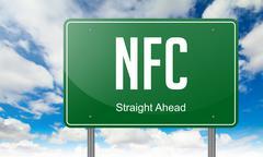 NFC on Highway Signpost - stock illustration
