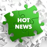 Hot News on Green Puzzles - stock illustration
