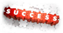 Stock Illustration of Success - Text on Red Puzzles
