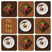 Tic-Tac-Toe of ice cream and brownie - stock illustration