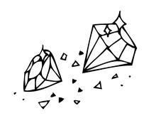 Vector. Sketch. Brilliant Gems on a white background Stock Illustration