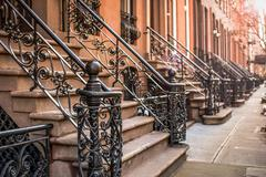 Stock Photo of Brownstone Apartment steps in the Chelsea neighborhood of New York City...