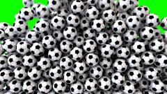Soccer footballs fill screen transition composite overlay Stock Footage