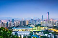Shenzhen, China financial district skyline. - stock photo