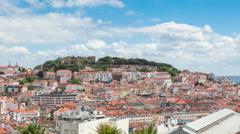 4K  timelapse of Lisbon rooftop from Sao Pedro de Alcantara viewpoint - Miradour Stock Footage