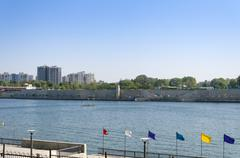 Sabarmati Riverfront View from Sabarmati Ashram in Ahmedabad - stock photo