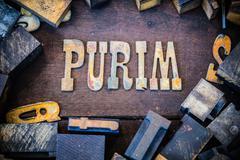 Purim Concept Rusty Type - stock photo