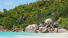 anse lazio on praslinisland Stock Photos
