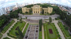 Aerial view of the Museum Paulista (Museu do Ipiranga) in Sao Paulo, Brazil Stock Footage