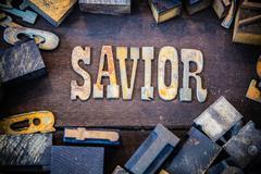 Savior Concept Rusty Type Stock Photos