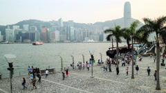 Time lapse along Hong Kong island promenade Stock Footage