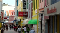 Curacao Willemstad 050 colorful Dutch shopping street in the Caribbean Sea Stock Footage
