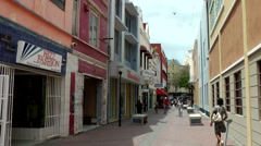 Curacao Willemstad 049 typical shopping street in Punda downtown Stock Footage