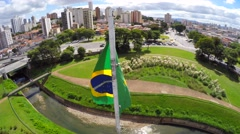 Brazilian waving flag - Latin America Stock Footage