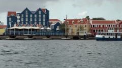 Curacao Willemstad 055 pedestrian ferryboat on Sint Anna Bay Stock Footage