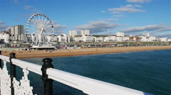 Brighton Wheel and beach, England Stock Footage