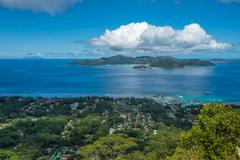 Panorama of La Digue island from Nid d'Aigle viewpoint, Seychelles Stock Photos