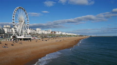 Brighton Beach and Wheel, England Stock Footage