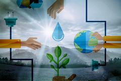 Stock Illustration of Composite image of environment graphics