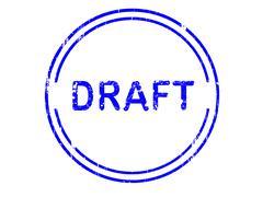 Circular Grunge Office Stamp - DRAFT - stock illustration