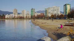 English Bay Vancouver during the Winter Stock Footage