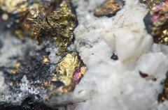 Chalcopyrite Copper iron sulfide mineral Macro. - stock photo