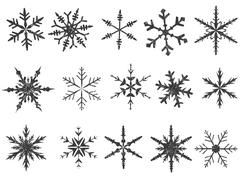 Frosted Snowflake Elements  - stock illustration