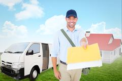 Stock Photo of Composite image of happy postman delivering letter on white background