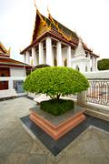 pavement gold    temple   in   bangkok  thailand incision of the plant - stock photo