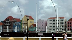 Curacao Willemstad 057 Queen Emma pontoon bridge in front of beautiful cityscape Stock Footage