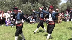 Man dancing troop performs at the forest audio Stock Footage
