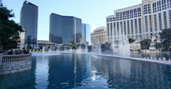 Las Vegas Fountains at Bellagio World Famous Attraction with Tourists Show Stock Footage