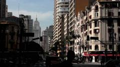 Traffic in the Sao Paulo city, Brazil.  Sao Joao avenue Ipiranga Stock Footage