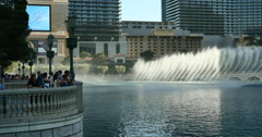 Las Vegas Fountains at Bellagio World Famous Attraction with Tourists Stock Footage