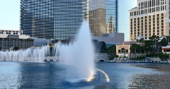 Las Vegas Fountains at Bellagio World Famous Attraction Long Shot Stock Footage