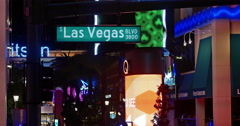 Las Vegas Bouledard Street Sign at Night with Neon Stock Footage