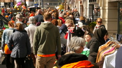 Crowd on street in Amsterdam (King's Day) Stock Footage