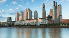 Stock Video Footage of Argentina Buenos Aires skyline Puerto Madero at dawn