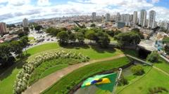 Brazilian waving flag in Ipiranga, Sao Paulo Brazil Stock Footage