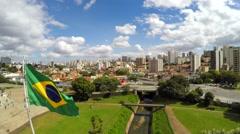 Amazing brazilian flag in Ipiranga, Sao Paulo Brazil Stock Footage