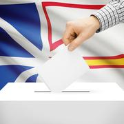 Voting concept - Ballot box with national flag on background - Newfoundland a - stock photo