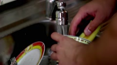Washing Dishes Stock Footage